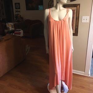 Cynthia Rowley Peach Hi-Lo Sleeveless Maxi Dress